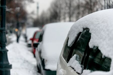 a blizzard: Cars covered in snow after heavy blizzard