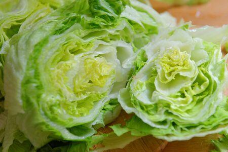 iceberg: Fresh Green Iceberg lettuce prepared on table Stock Photo