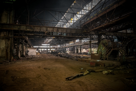 Large industrial hall with low light angle shot photo