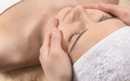 beauty face: Healthcare treatment at the spa salon for a woman Stock Photo