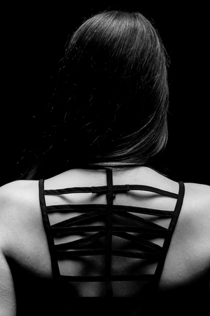 dorsal: Parte dorsal de una foto del primer mujer Foto de archivo