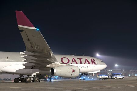 BUDAPEST, HUNGARY - MARCH 5 -  QUATAR Airbus A330-202, from Qatar Airways at Budapest Airport, March 5th 2014 . Since its launch, the A330 allows Airbus expand market share in wide-body airliners