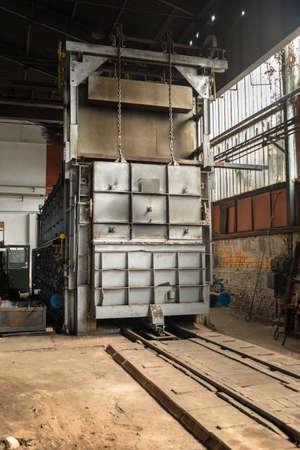 factory interior: Industrial Cargo container in large factory interior