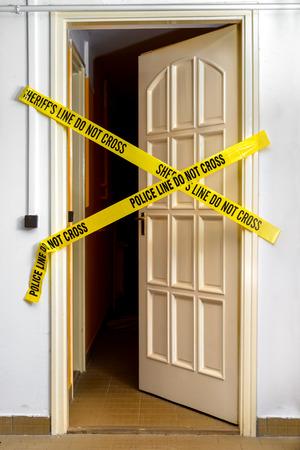 do not cross: Yellow Plastic Crime Scene Do Not Cross Tape Stock Photo