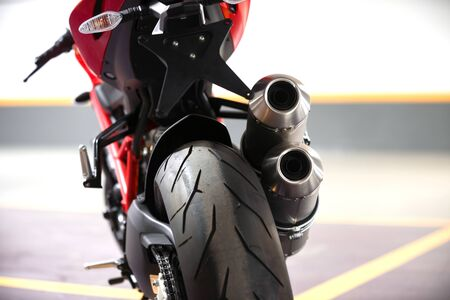 motor transport: Photo of a Motorcycle parking in garage