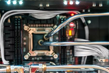processor: Modern computer processor and motherboard closeup photo