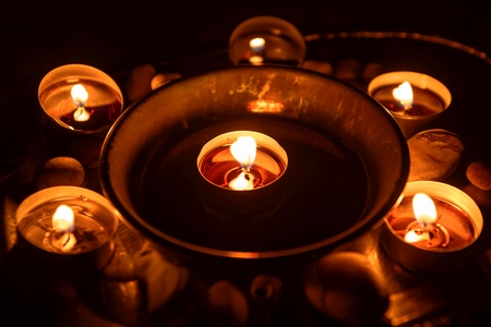 wiccan: Ancient pentagram burning at altar close up Stock Photo
