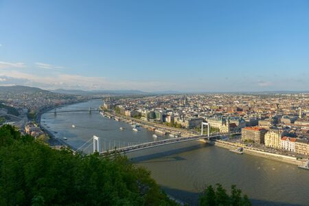 beautiful weather: Panoramic view of Budapest in beautiful weather