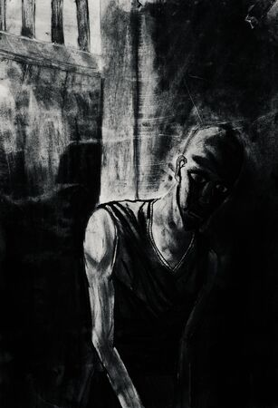 lonelyness: Black and white drawing of man in prison Stock Photo