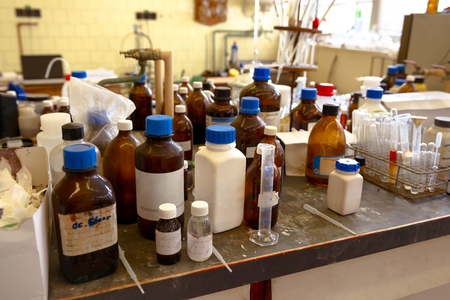 recorded: Old laboratory with a lot of bottles recorded with glider