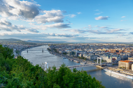 Panoramic view of Budapest in beautiful weather photo