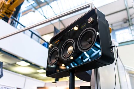 surround system: Subwoofers on the road outdoors closeup photo Stock Photo