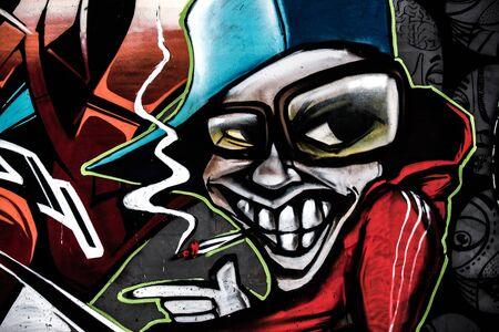 sneer: Graffiti with a simper boy smoking cigarette