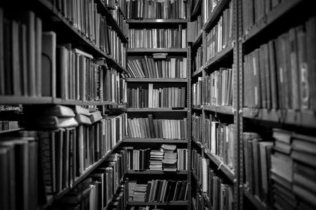 Binnenland van de bibliotheek met boeken op de planken