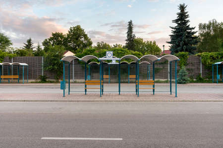 blu sky: Bus Stop without people with blu sky