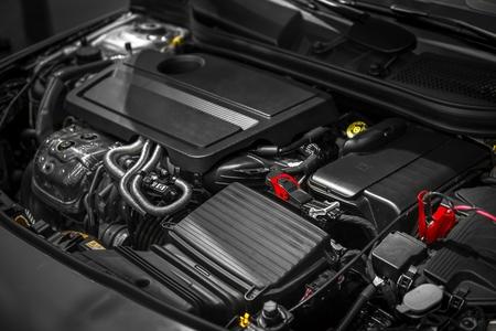 Detail photo of a clean car engine