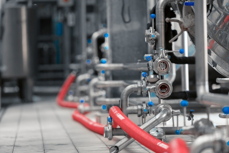 Clean high quality pipeline in industrial interior 스톡 콘텐츠