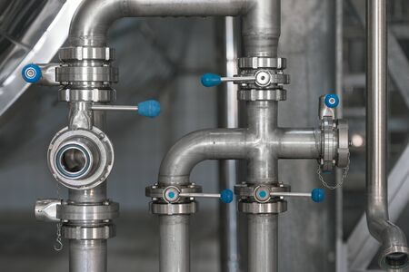 rigidity: Clean high quality pipeline in industrial interior Stock Photo