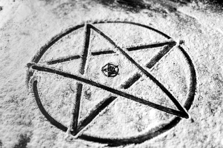 Old steel Pentagram closeup photo on background Stock Photo