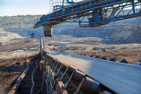 work belt: Long conveyor belt transporting ore to the power plant