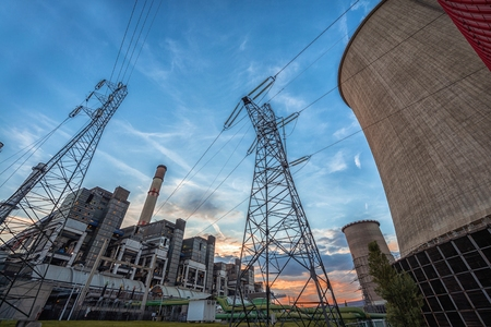 Huge and modern Power plant producing heat Stock Photo