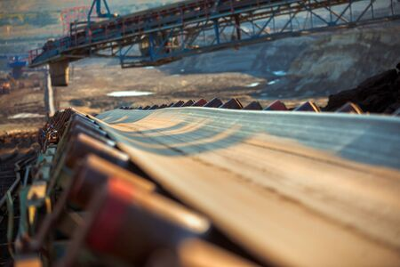 goldmine: Long conveyor belt transporting ore to the power plant