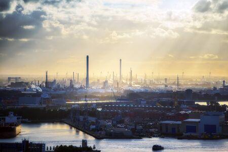 shipyard: Industrial zone of Rotterdam shipyard at sunset