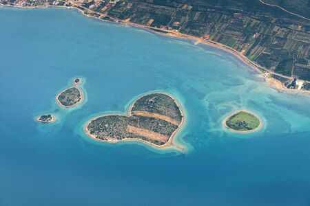 blue lagoon: Aerial view of Croatia coastline from above
