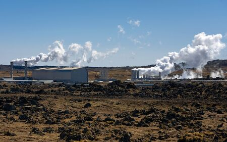 factory power generation: Geothermally active at Iceland, near the capital Stock Photo