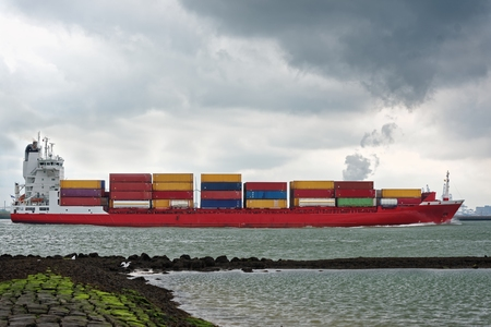 standard steel: Lots of Cargo containers in shipyard stacked Stock Photo