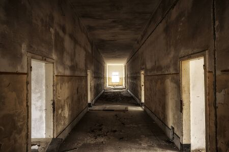 Abandoned and desolate interior of social building