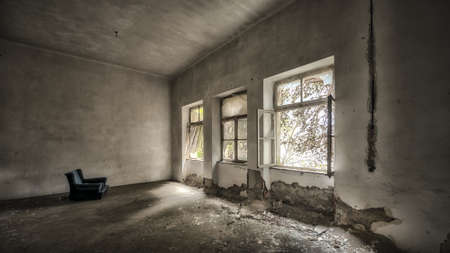 godforsaken: Abandoned and desolate interior of social building
