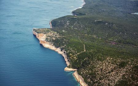 coastline: Aerial view of Croatia coastline from above