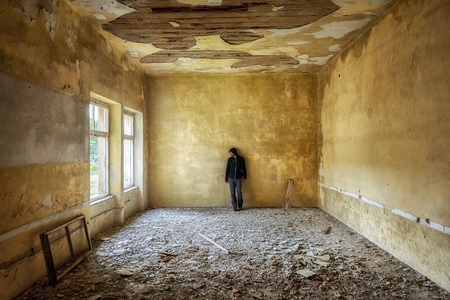 outcast: Abandoned and desolate interior of social building