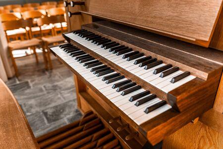 pipe organ: Close up view of a church pipe organ Stock Photo