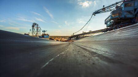 conveyor belt: Long conveyor belt transporting ore to the power plant
