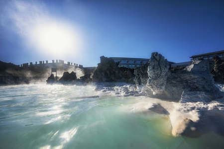 therapy geothermal: Thermal lagoon under deep blue sky outdoors