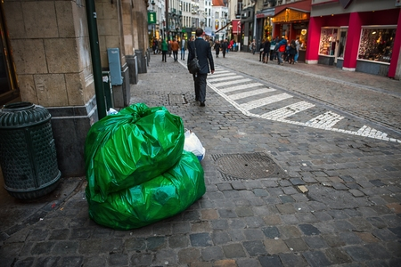 big bin: Garbage bag on the road at brussles central road Stock Photo
