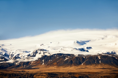 Landscape on Iceland with volcano named Eyjafjallajokull Stock Photo