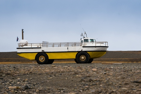 amphibious: Photo of an amphibian vehicle on rough terrain