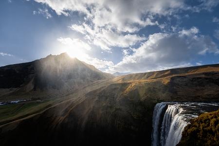 downfall: Photo of a Breathtaking Waterfall Skogafoss in Iceland