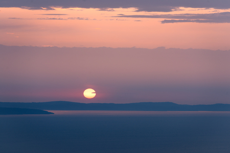 Beautiful sunset above the sea of croatia at evening
