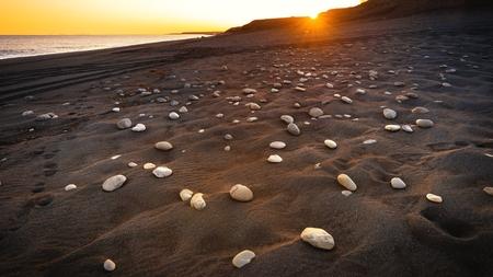 magnetic stones: Coastline with black sand near the city Vik