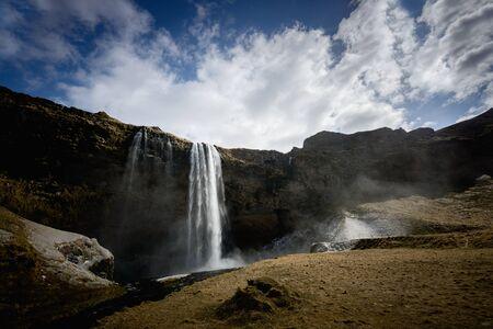 downfall: Photo of a Breathtaking Waterfall Selfoss in Iceland