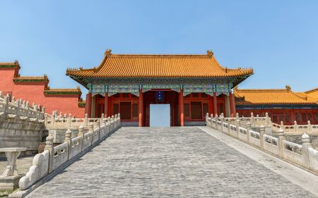 Traditional Chinese building under blue sky