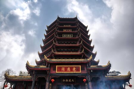 Buddhist temple angle shot in China