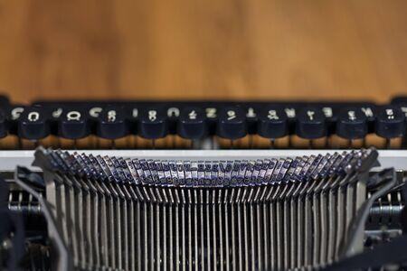 Old vintage typewriter closeup photo Stock Photo