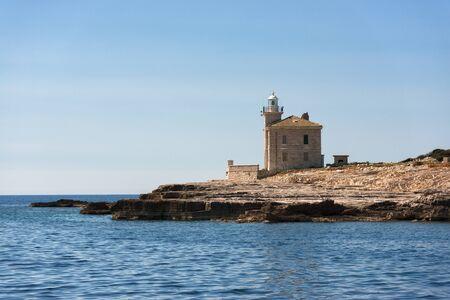 Small lighthouse on the island on Brijuni, Croatia Stock Photo