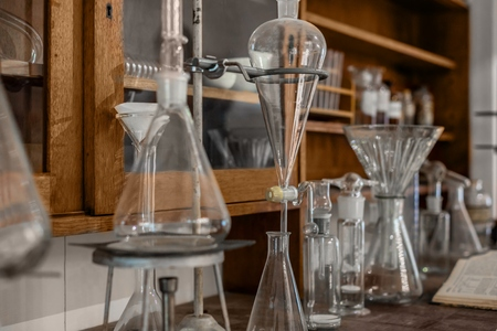 Old Science workbench with chemical components