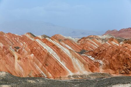 Rainbow mountains in asian geopark at China Stock Photo